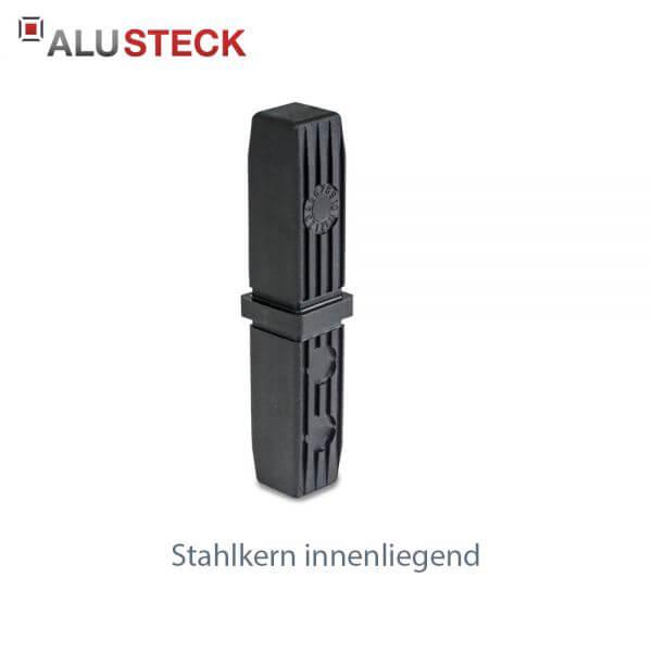 Rohrverbinder: Rohrverlängerung mit Stahlkern - 20x20mm Quadratrohr Steckverbinder