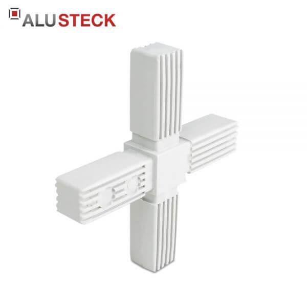 Rohrverbinder / Eckverbinder: Kreuz grau - 25x25mm Vierkantrohr Steckverbinder