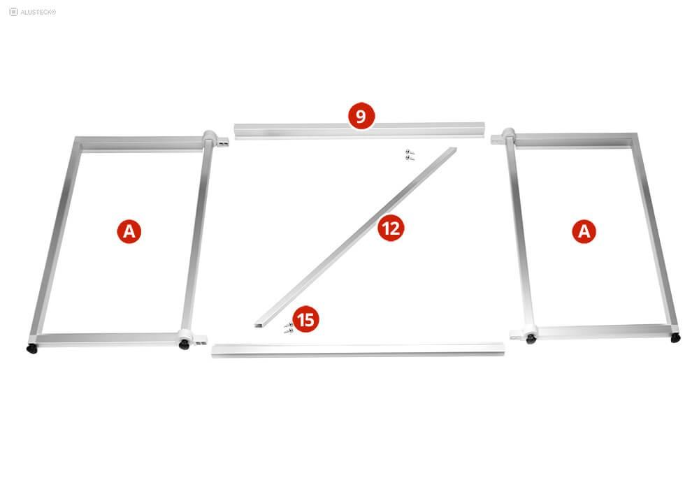 Campingküche Bauanleitung Seitenteile (A) Untergestell durch Profile verbinden