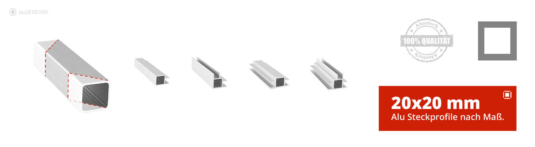Alu Steckprofile Aluprofile Aluminiumprofile nach Maß 20x20mm Stecksystem  Onlineshop kaufen