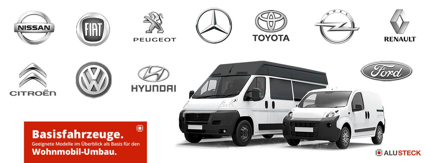 Beste Fahrzeuge für Wohnmobilausbau - Transporter Kastenwagen Basis-Modelle Wohnmobil Umbau