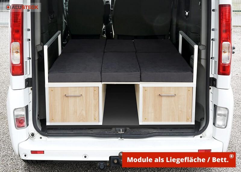 Campingbox Bauanleitung Womo mini Camper Auto Transporter Einbau Ansicht Module als Bett mit großer Liegefläche