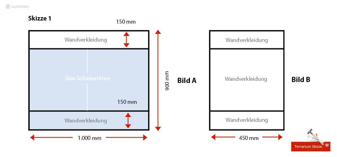 Beispielmaße für das Terrarium zum selber bauen