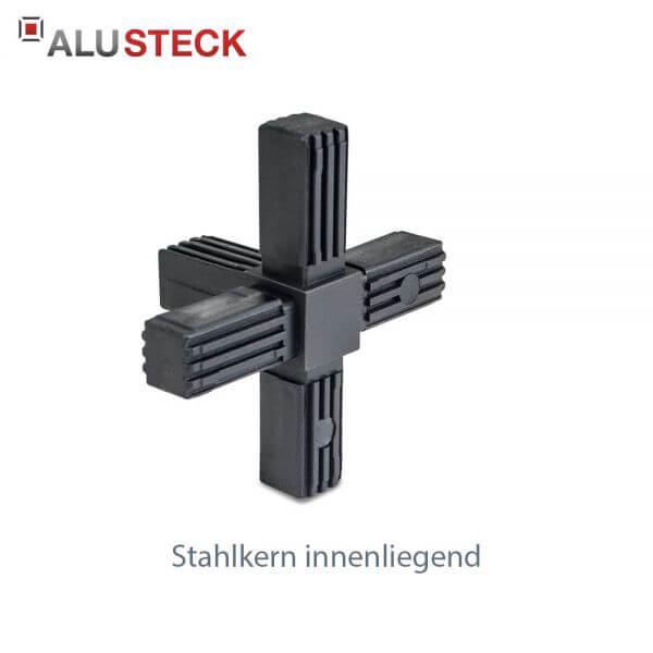 Rohrverbinder / Eckverbinder: Kreuz 1 Abgang mit Stahlkern - 20x20mm Vierkantrohr Steckverbinder
