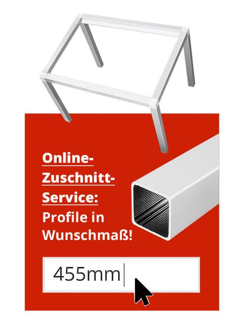 Do it yourself Selbstbau Beistelltisch ALUSTECK® Gestell Tischgestell Zuschnitt Service USP
