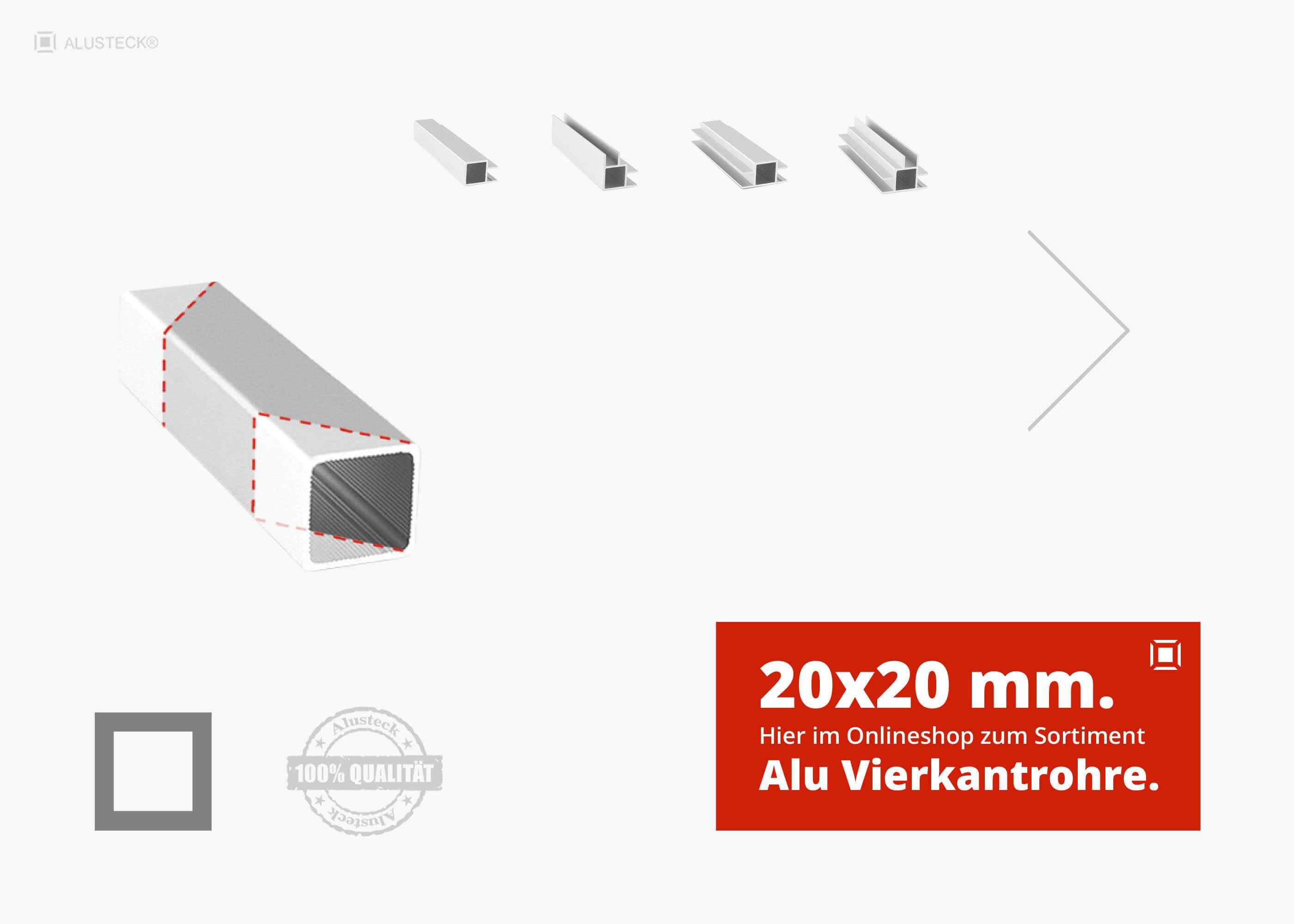 L: 1400mm Aluminium Vierkantrohr AW-6060-10x10x1,5mm 140cm auf Zuschnitt