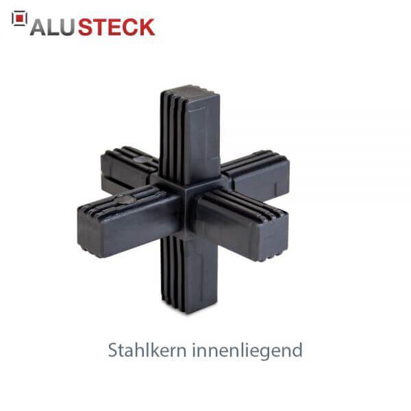 Rohrverbinder / Eckverbinder: Stern mit Stahlkern - 20x20mm Vierkantrohr Steckverbinder