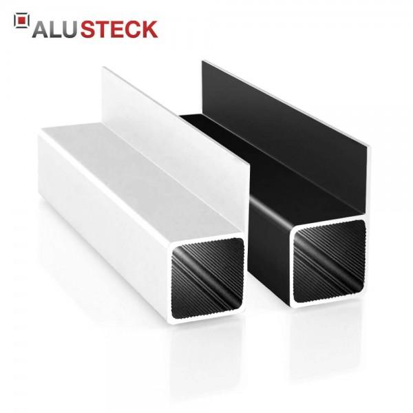 Alu Vierkantrohr 25 x 25 x 1,5 mm 1 Steg 20mm bündig - Aluminiumprofil blank, silber eloxiert, schwarz pulverbeschichtet - Quadratrohr R-ST-A