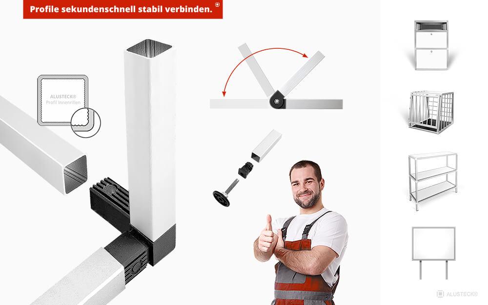 Alu Stecksystem Aluprofil System 25 mm ALUSTECK®