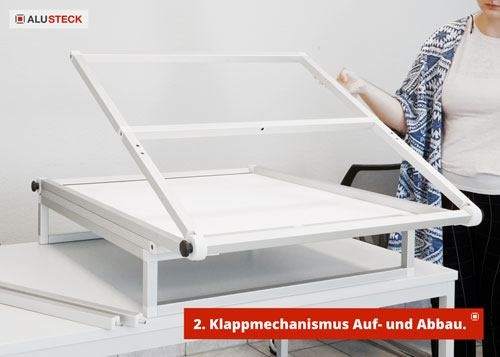 Fototisch klappbar - Klappmechanismus für Aufbau und Abbau Schritt 2