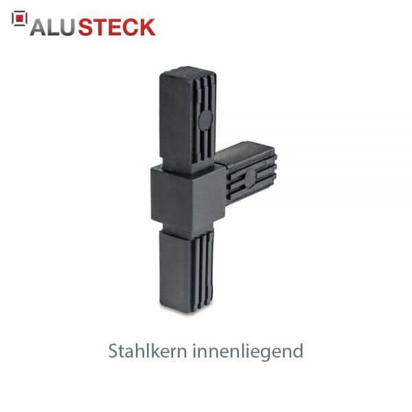 Rohrverbinder / Eckverbinder: T-Stück mit Stahlkern - 20x20mm Vierkantrohr Steckverbinder
