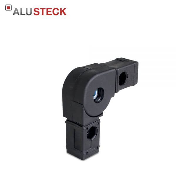 Gelenkverbinder: Rohrverbinder 45-200° schwenkbar - 30x30mm Vierkantrohr Steckverbinder