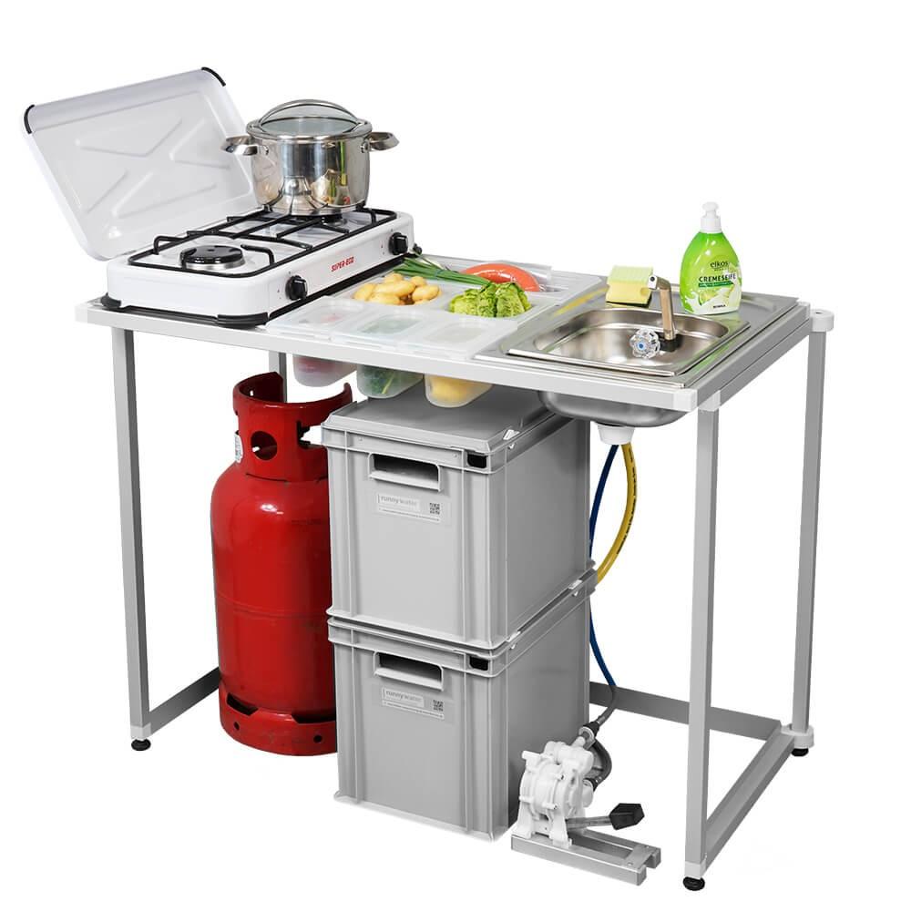 Campingküche Anwendungsbeispiel 5 Gasherd und Waschbecken