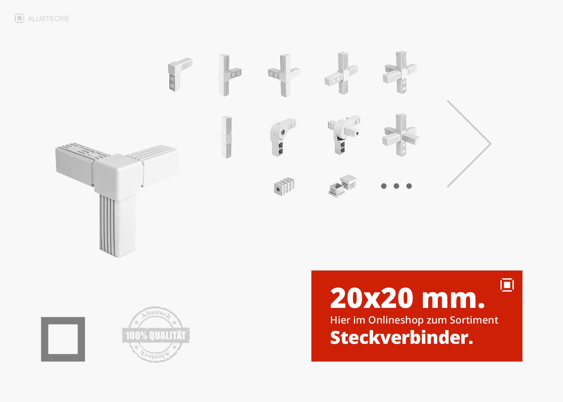 steckverbinder system 20x20mm alu stecksystem alusteck. Black Bedroom Furniture Sets. Home Design Ideas