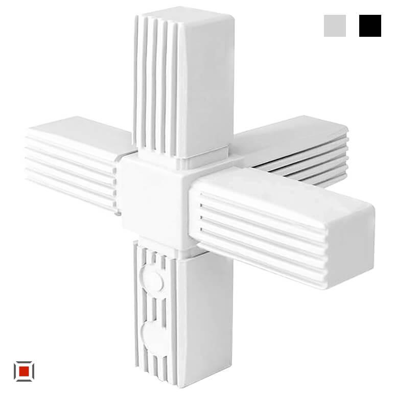 XD Kunststoff Kreuzverbinder, Kunststoffverbinder mit Abgang, Steckverbinder / Verbinder für 25x25mm Quadratrohre, 3D5V25-X1-5MK RAL7035 und schwarz