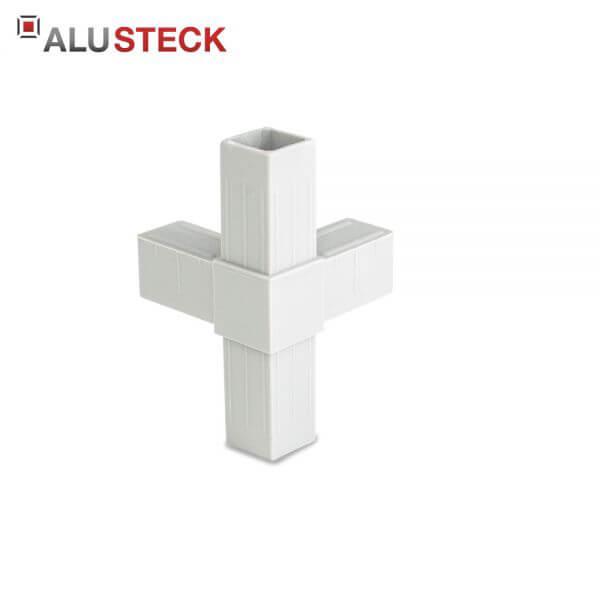 Rohrverbinder / Eckverbinder: T-Stück 1 Abgang grau - 20x20mm Vierkantrohr Steckverbinder