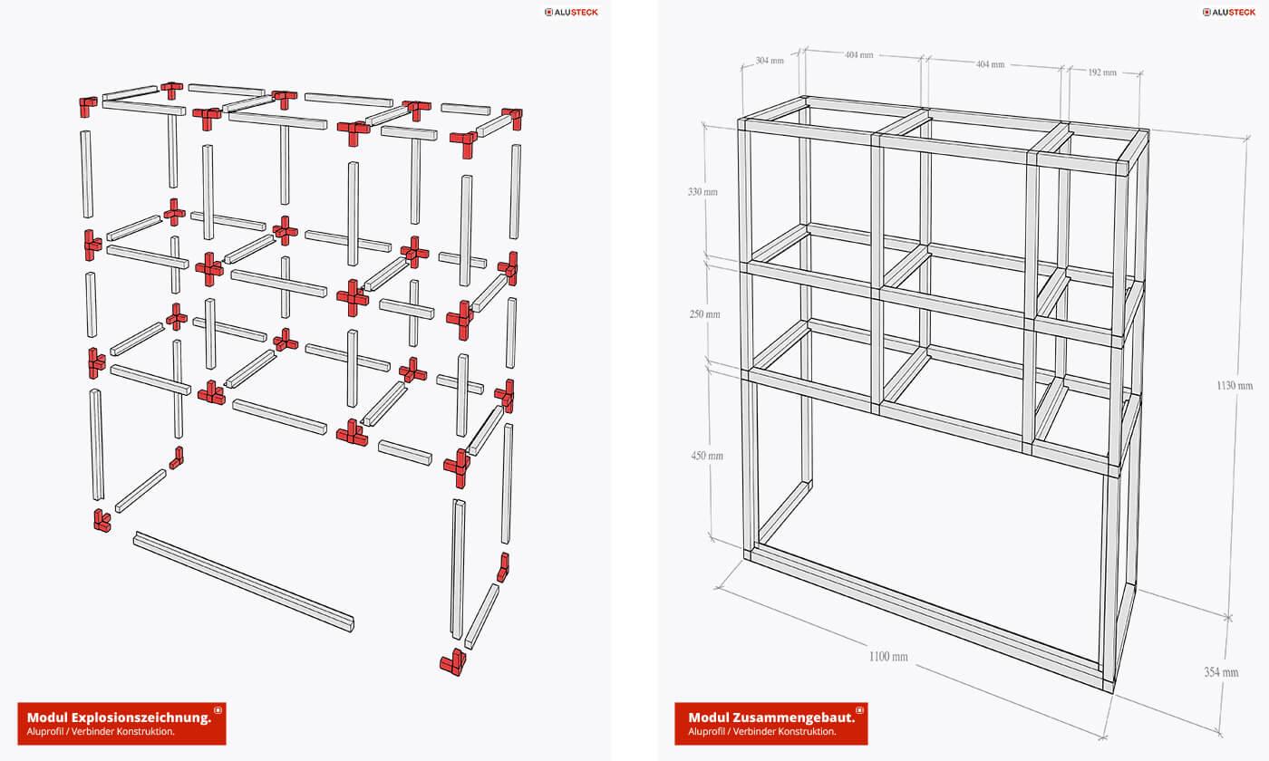 Module der Fahrzeugeinrichtung - Konstruktion aus hochwertigen Aluprofilen und Verbindern