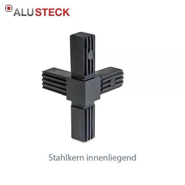 Rohrverbinder / Eckverbinder: T-Stück 1 Abgang mit Stahlkern - 20x20mm Vierkantrohr Steckverbinder