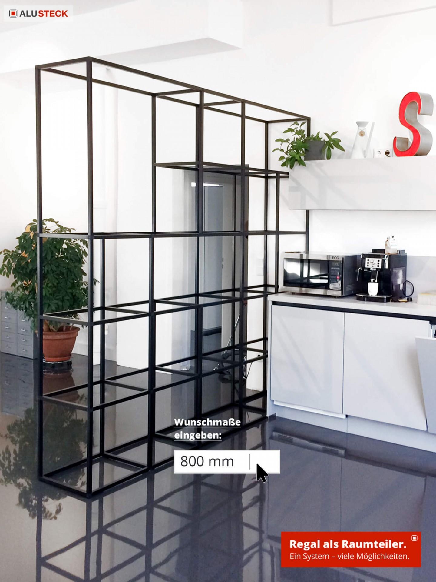 Raumteiler im Wohnraum - Bau Beispiel als Trennwand-Regal System