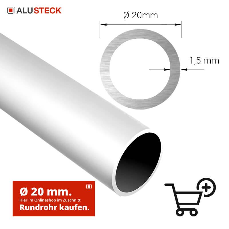 Alurohre Rundrohre Aluminium Alu 20 mm Aluminiumrohr