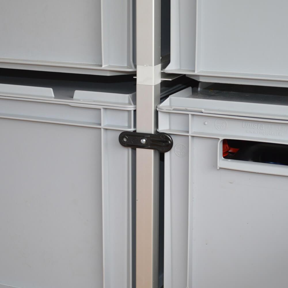 Drehriegel Vorreiber Klappenverschluss Anwendungsbeispiel verschlossen