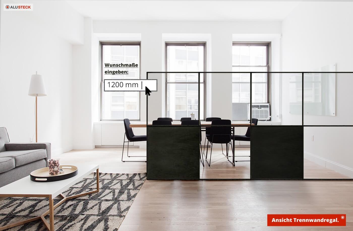 Raumteiler bauen - Wohnraum / Essbereich Konstruktion do-it-yourself für Heimwerker mit Alu Stecksystem auf Maß - Anleitung für Möbel