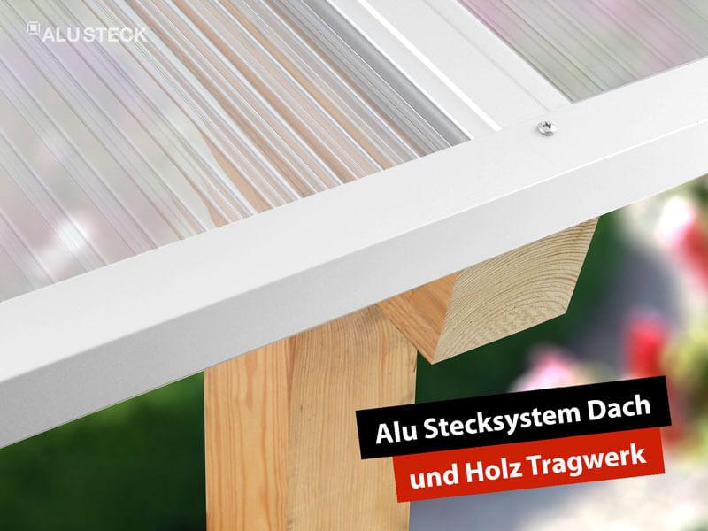 Terrassenüberdachung selber bauen: Alternative Holz Tragwerk und Aluminium Eindeckung