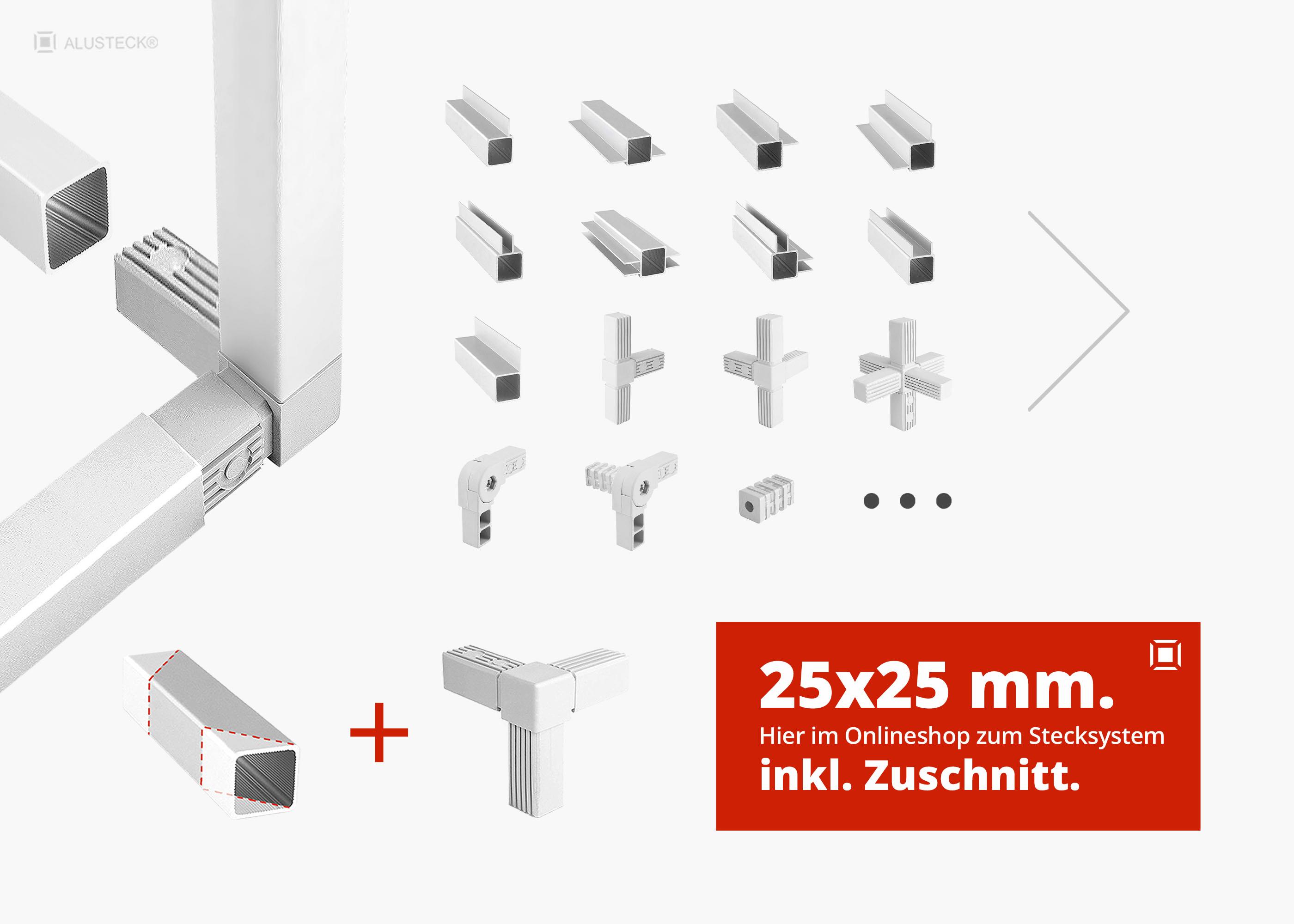 Kunststoff 25x25 VIERKANT ROHR T-ECKE Verbinder steck