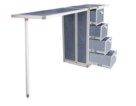 Fahrzeugausbau Tisch zum ausklappen mit Schubladen-Elementen