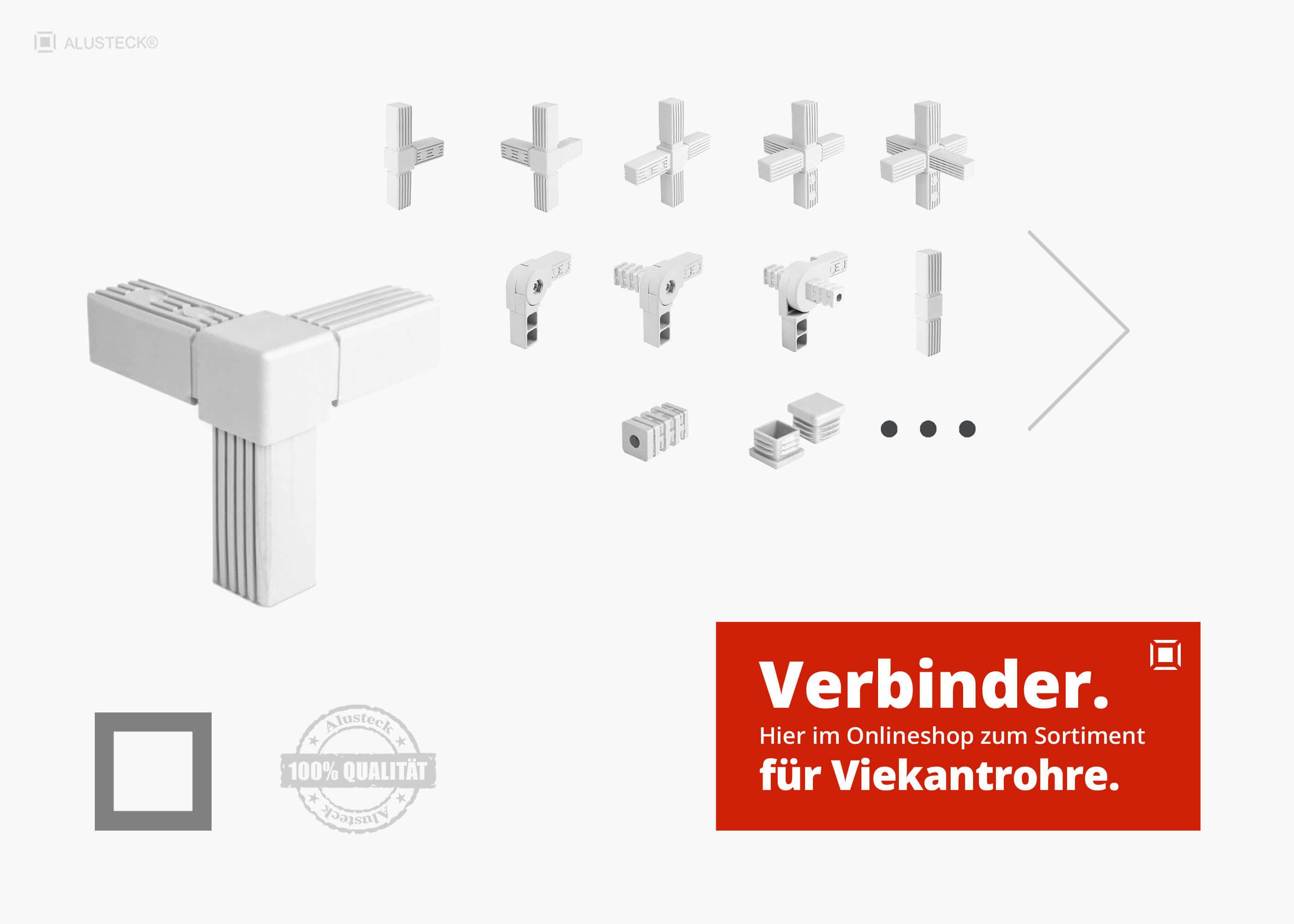 Kunststoff 20x20 VIERKANT ROHR T-STÜCK Verbinder steck