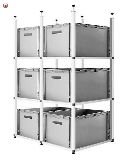 Alu Stecksystem 25x25 mm - Aluminium Profile und Steckverbinder Konstruktion