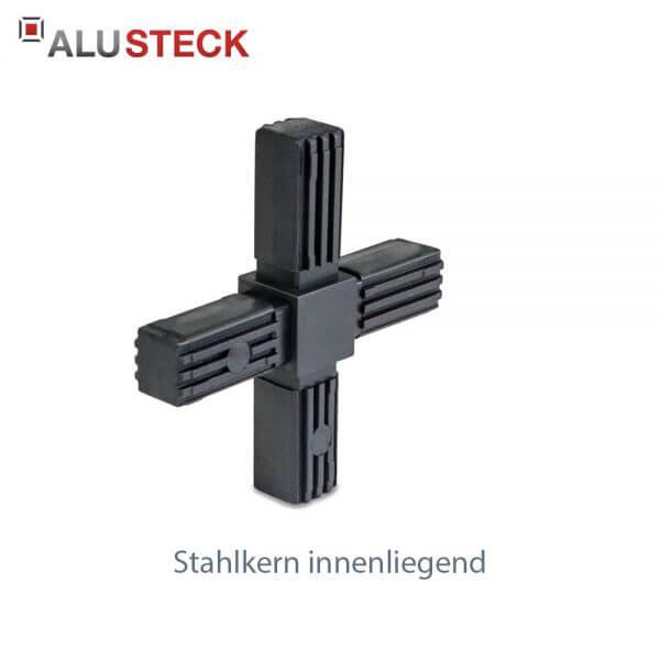 Rohrverbinder / Eckverbinder: Kreuz mit Stahlkern - 20x20mm Vierkantrohr Steckverbinder