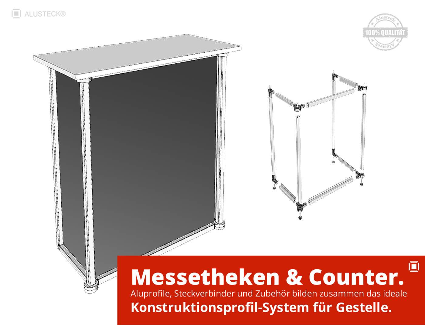 Messetheken und Counter Gestelle bauen Konstruktionssystem ALUSTECK®
