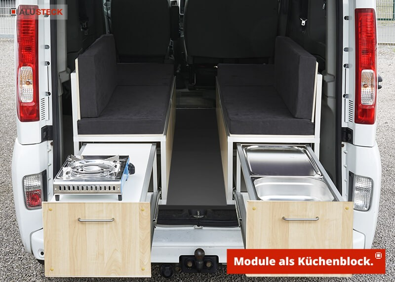 Campingbox Bauanleitung Womo mini Camper Auto Transporter Einbau Ansicht Schubladensystem als Küchenblock Modul geöffnet
