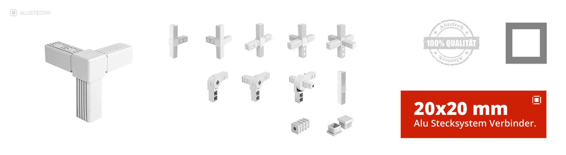 Steckverbinder Rohrverbinder Vierkantverbinder 20x20mm Stecksystem Onlineshop kaufen
