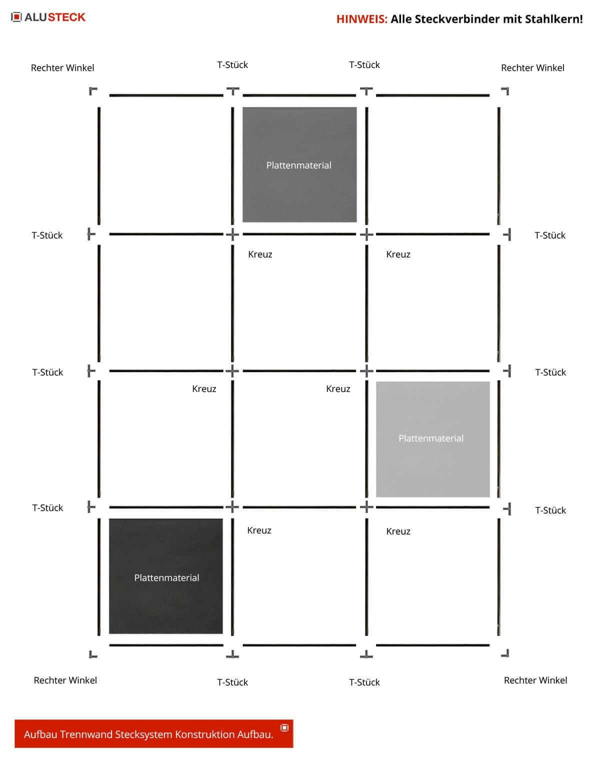 Trennwand Stecksystem - Raumteiler DIY bauen Aufbauzeichnung