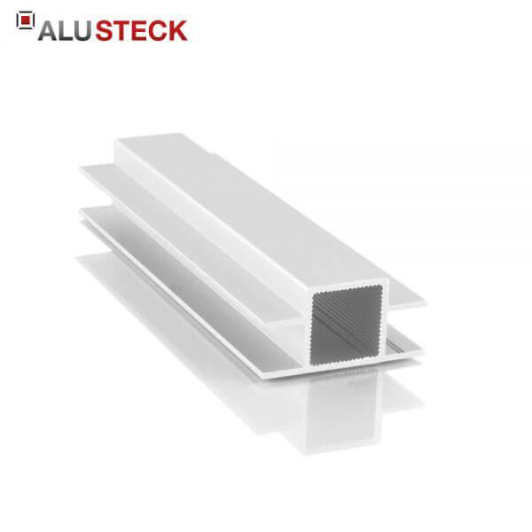 Aluprofil 20x20x1,5mm: 2 Doppelstege 10mm gegenüber - 6m Lagerlänge