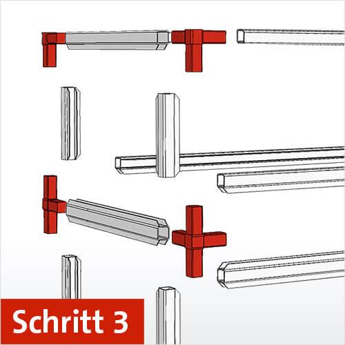 Schritt 3: Aluminiumprofile und Verbinder für das Regal bestimmen