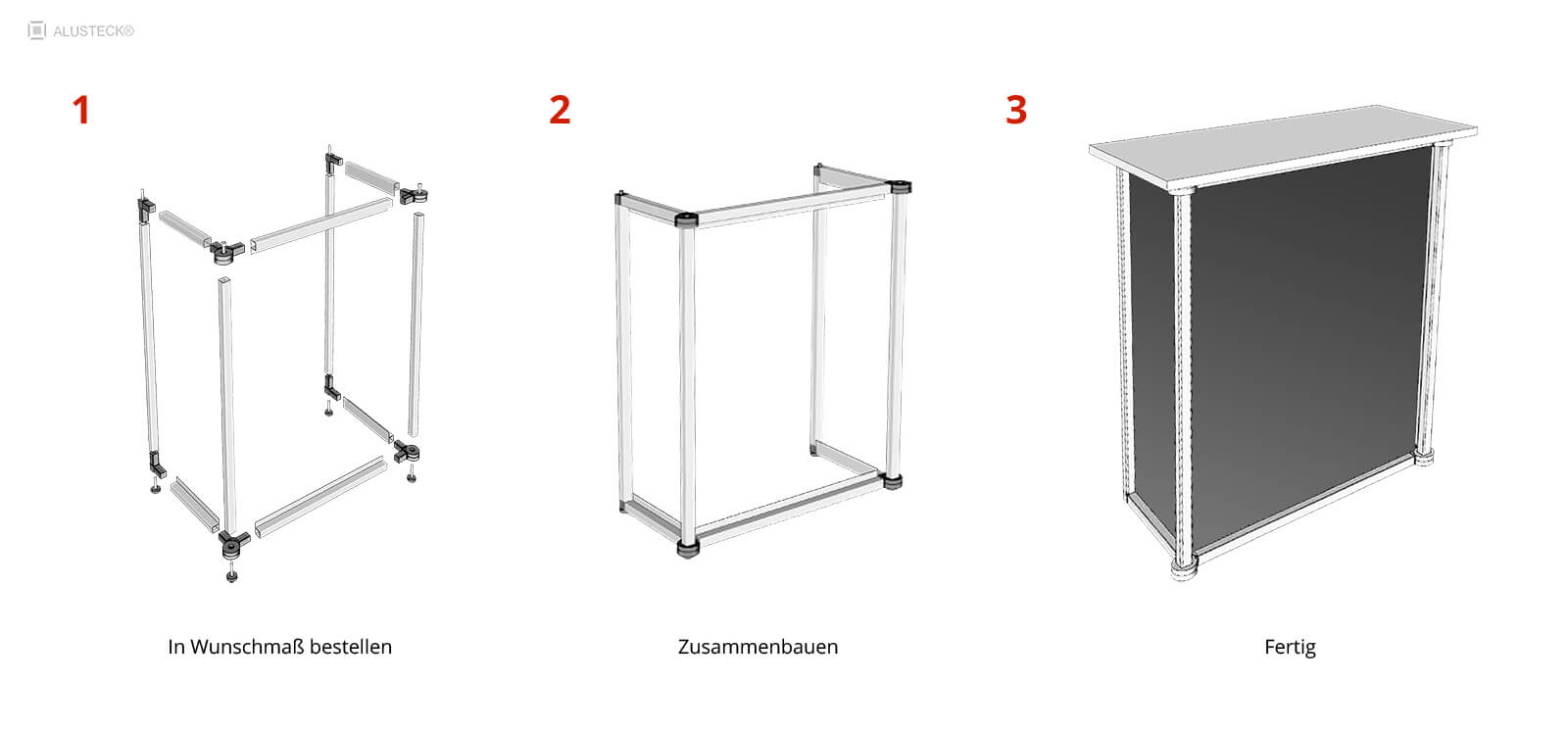 Beispielkonstruktion Messetheke Counter ALUSTECK® System