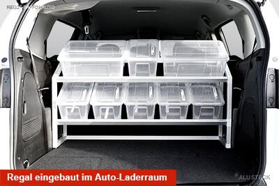 Regal eingebaut im Auto-Laderraum