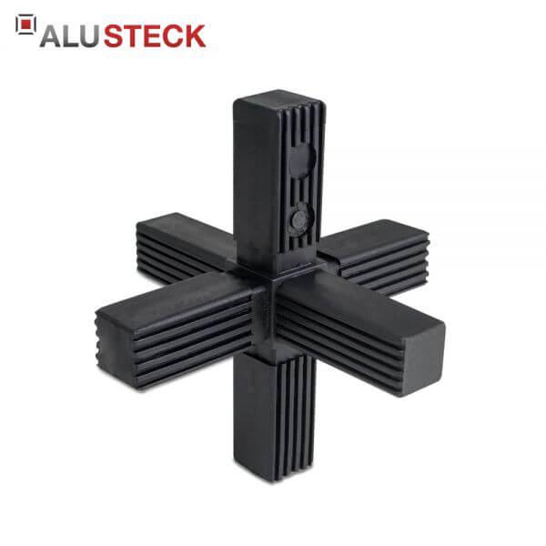 Rohrverbinder / Eckverbinder: Stern - 25x25mm Vierkantrohr Steckverbinder