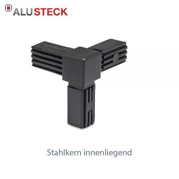 Rohrverbinder / Eckverbinder: Rechter Winkel 1 Abgang mit Stahlkern - 20x20mm Vierkantrohr Steckverbinder