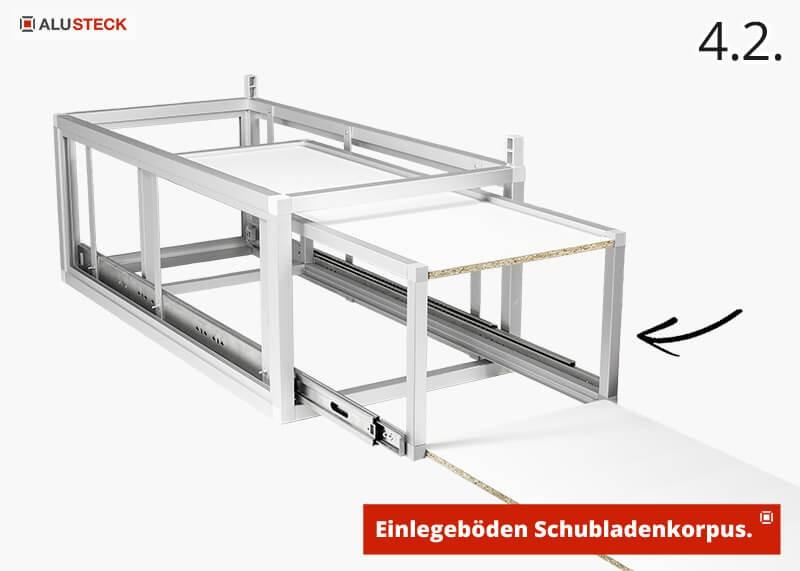 Campingbox Schubladenmodul selber bauen Schritt 4.2. Einlegeböden einsetzen