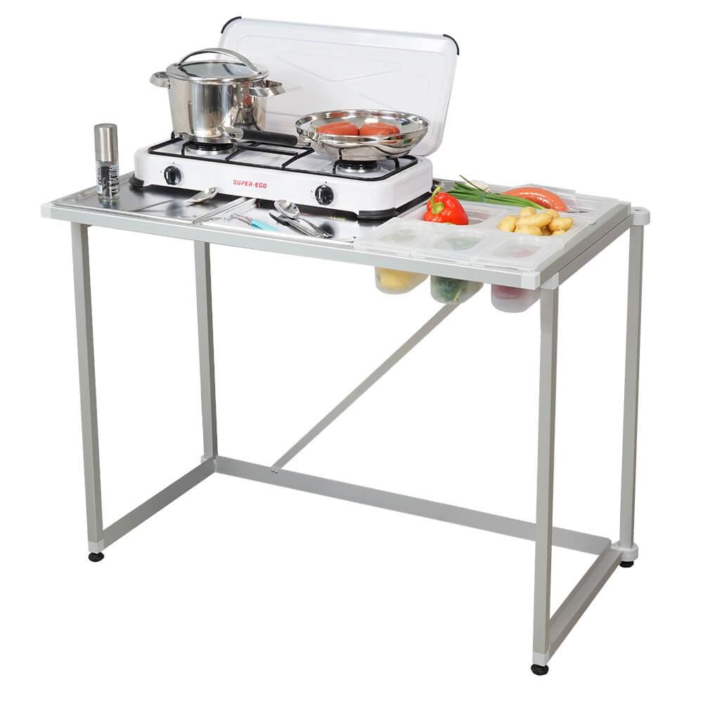 Systemträger mit Gaskocher und Kunststoff-Schalensystem für Lebensmittel