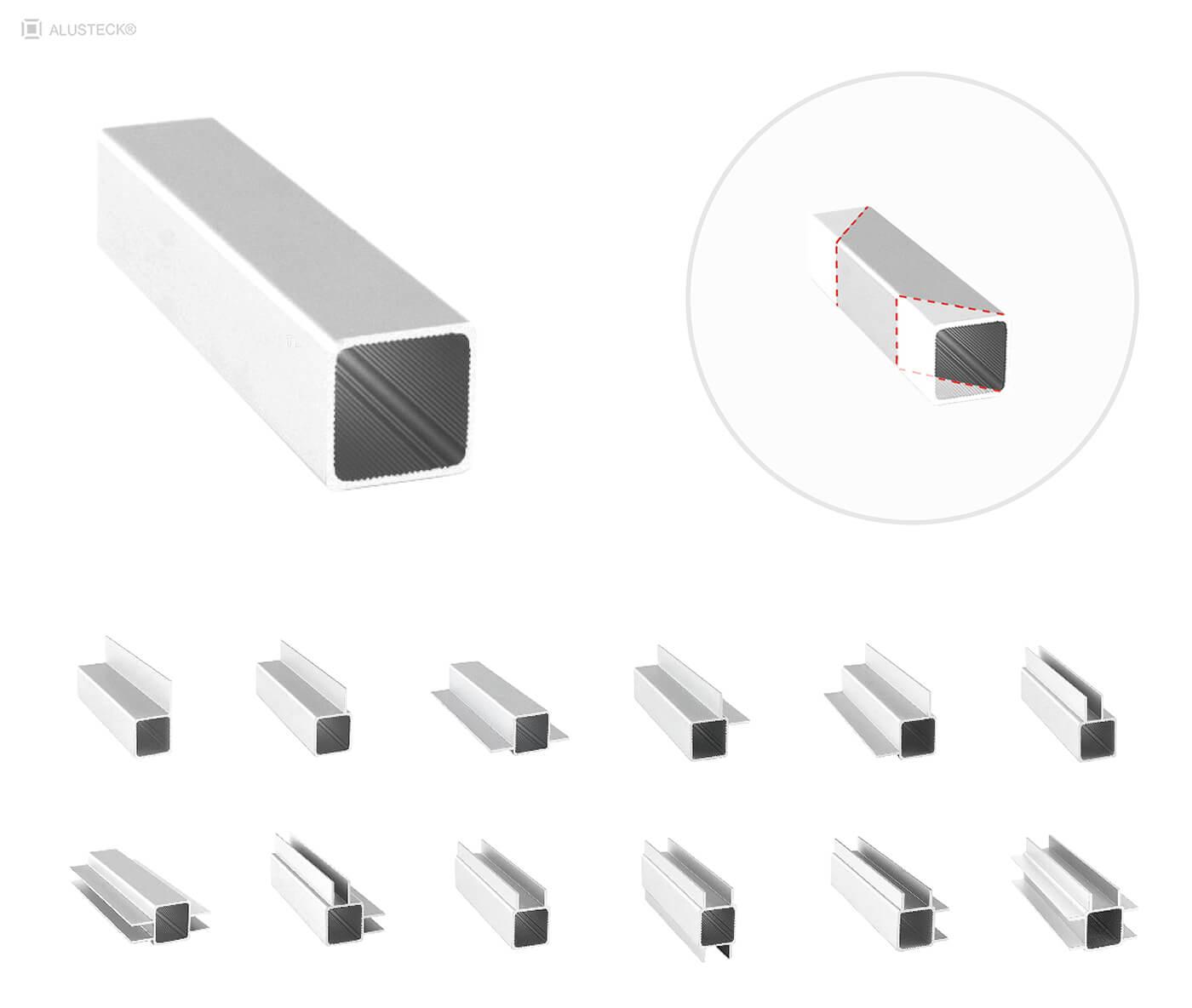 Alu Vierkantrohre Messebau Konstruktionssystem im Zuschnitt