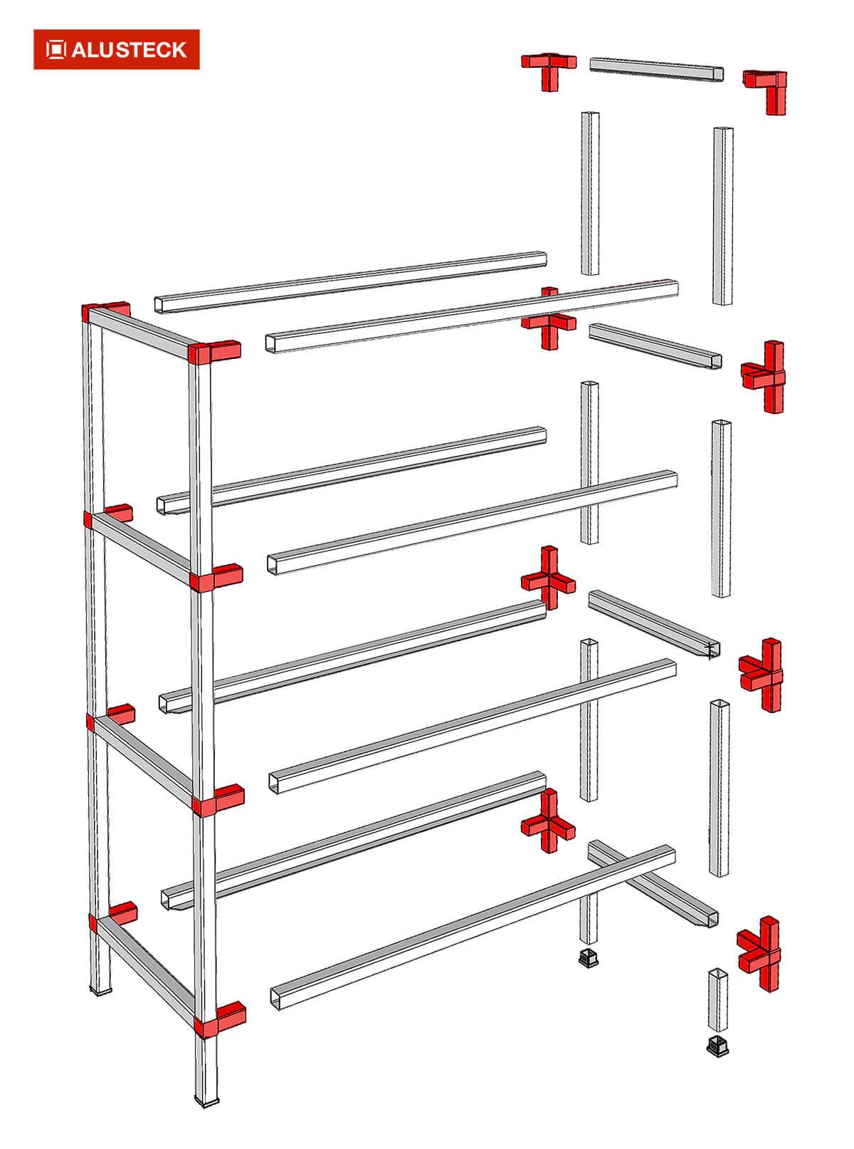 Ladenbau Gestell Konstruktion Bausatz Rohrsystem Ladeneinrichtungen Explosionszeichnung