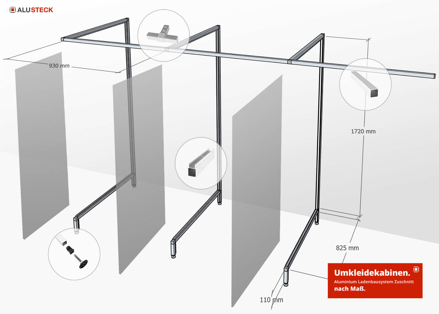 Wandsystem Umkleidekabinen Ladenbausystem