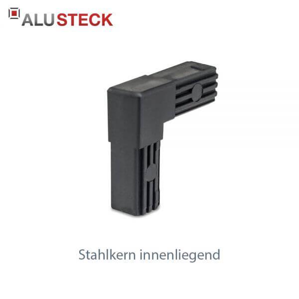 Rohrverbinder / Eckverbinder: Rechter Winkel ohne Kopf mit Stahlkern - 20x20mm Vierkantrohr Steckverbinder