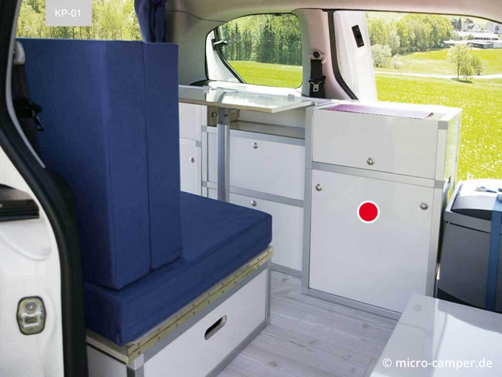 Koch-/WC-Modul im Camper-Wohnmobil verbaut