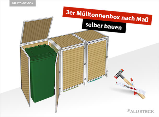 3er m lltonnenbox nach ma selber bauen mit alusteck. Black Bedroom Furniture Sets. Home Design Ideas